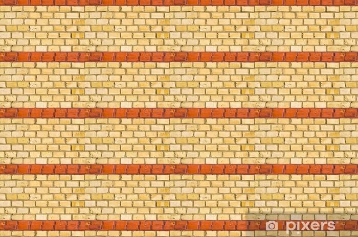 Tapeta na wymiar winylowa Żółty brickwall z czerwoną ramką - Tła