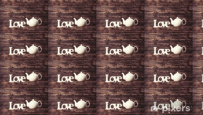 Tapeta na wymiar winylowa Czajniczek i słowo miłość - Gorące napoje