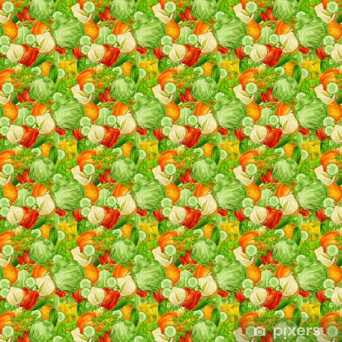 Zelfklevend behang, op maat gemaakt Groenten mix naadloze achtergrond - Industrie