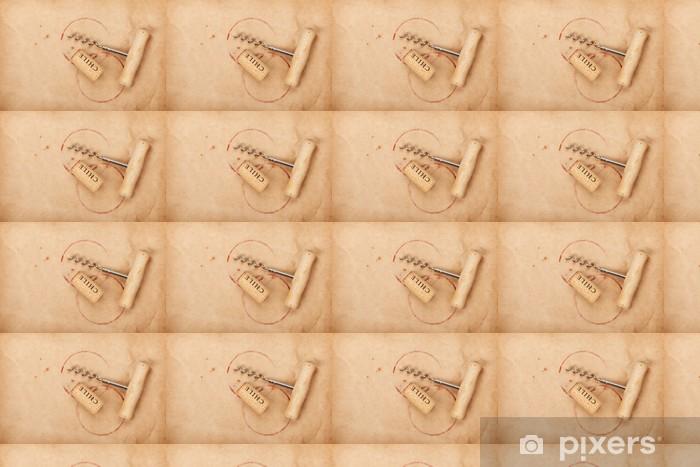 Vinyltapete nach Maß Korken und Korkenzieher mit Rotweinflecken - Alkohol