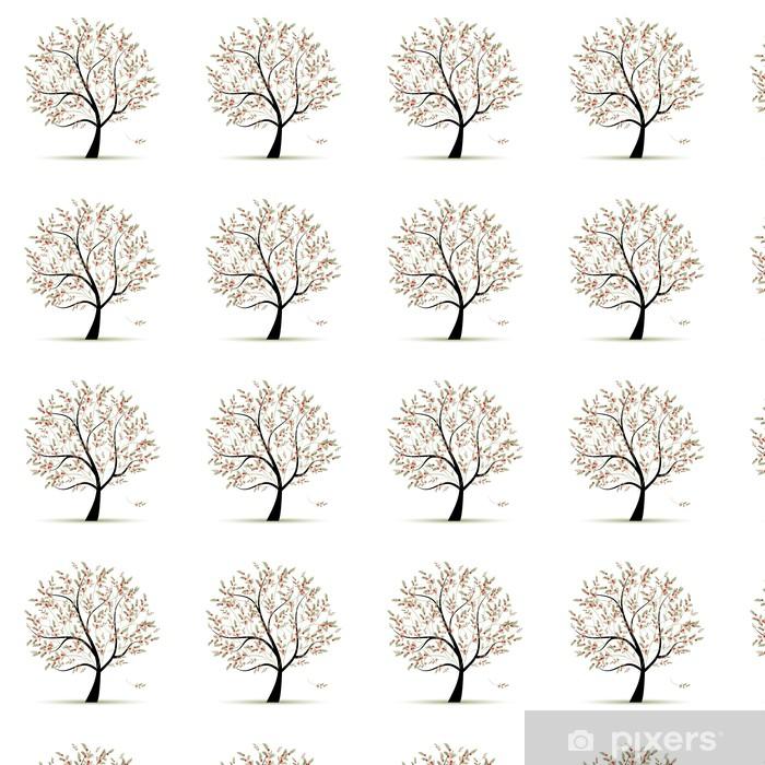 Vinylová tapeta na míru Zelený strom s červenými plody pro svůj design - Roční období
