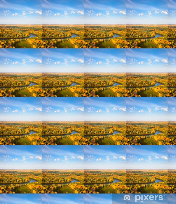 Tapeta na wymiar winylowa Widok z góry na rzeki las w jesieni - Pory roku