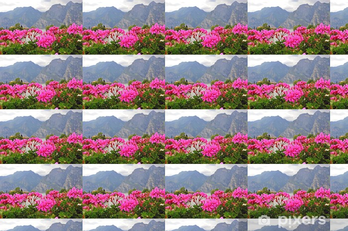 Flowers and mountains Vinyl custom-made wallpaper - Countryside