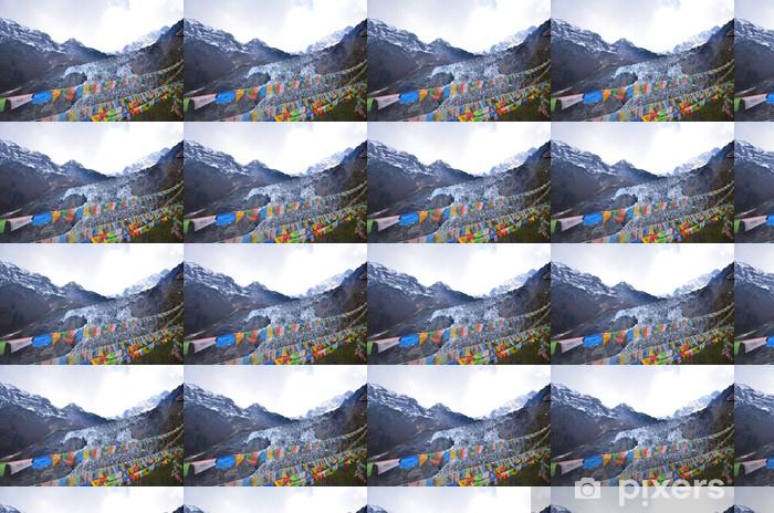 Tapeta na wymiar winylowa Tybetańskie flagi modlitewne w górach śniegu - Tematy