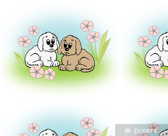 Tapeta winylowa Śliczne małe szczeniaki - Fikcyjne zwierzęta