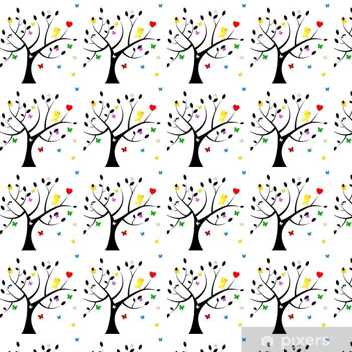 Papier peint vinyle sur mesure Oiseaux Arbre Indique Coeur et de l'environnement - Signes et symboles