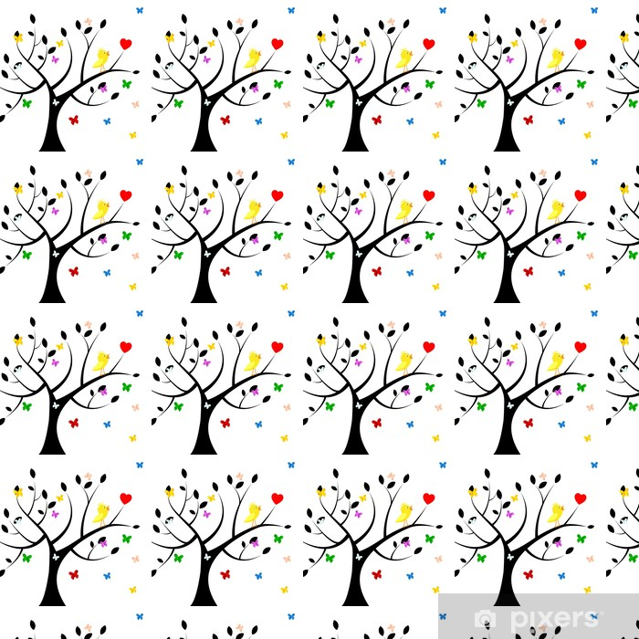 Birds Tree Indicates Heart Shape And Environment Vinyl custom-made wallpaper - Signs and Symbols
