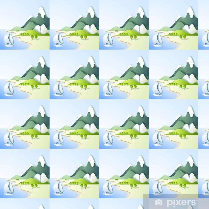 Paper mountain landscape Vinyl custom-made wallpaper - Backgrounds