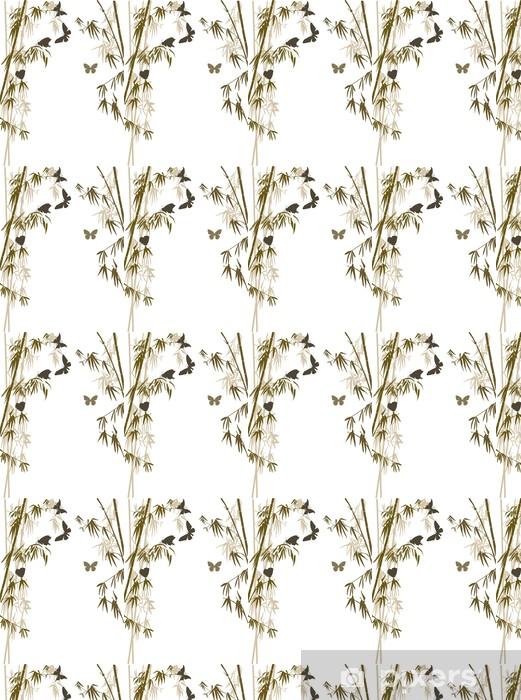 Tapeta na wymiar winylowa Brązowe liście bambusa i motyle - Rośliny