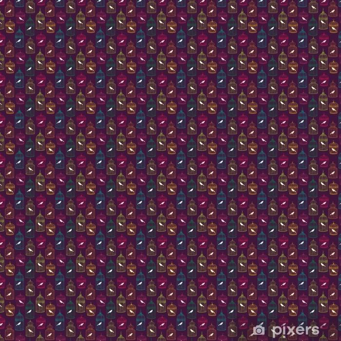 Zelfklevend behang, op maat gemaakt Vogelkooien naadloos patroon - Grafische Bronnen
