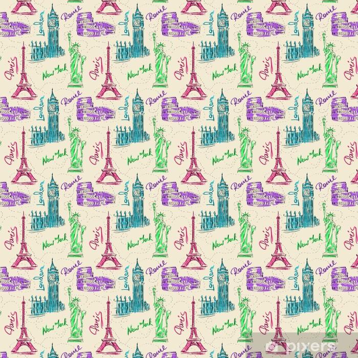 Seamless pattern of architectural landmarks Vinyl custom-made wallpaper - Holidays