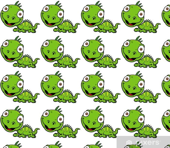 Vector illustrations of Cartoon green iguana Vinyl custom-made wallpaper - Other Other