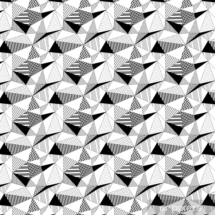 Geometric Striped Triangles Seamless Pattern In Black White Wallpaper Vinyl Custom Made