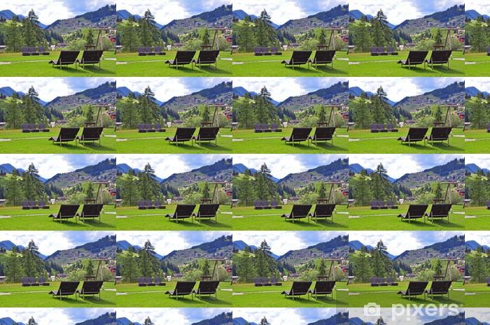 Papier peint à motifs vinyle Station d'été dans les montagnes - Campagne