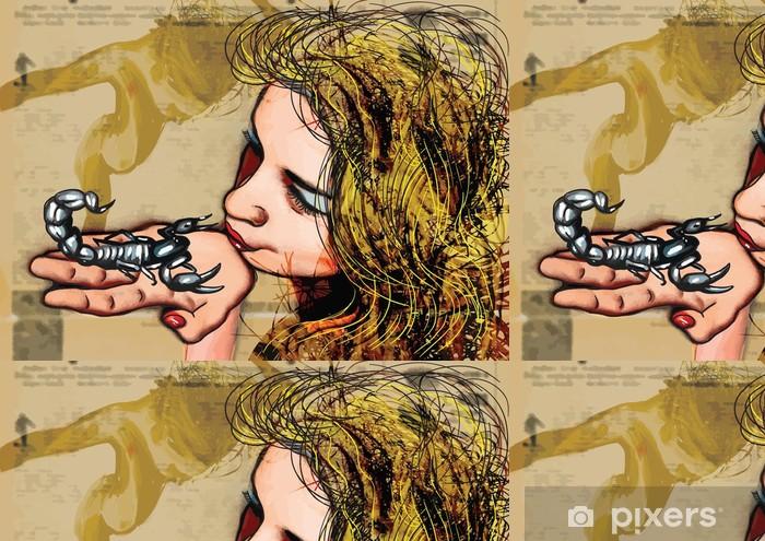 Tapete Play With Fire Kiss Skorpion Hand Gezeichnet Vektor