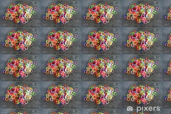 Vinyltapete nach Maß Bunter Regenbogen-Webstuhl Armband Gummibänder Mode - Texturen