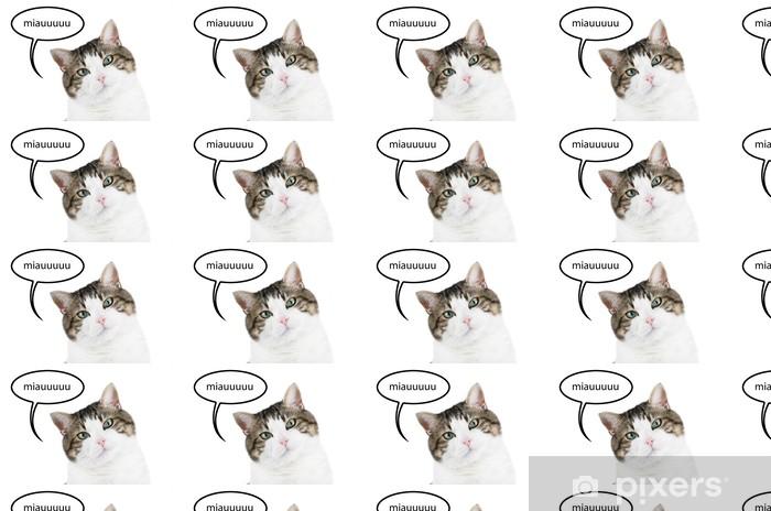 Vinylová tapeta na míru Kočka portrét izolované myšlení s balónem s textovým miauuuuu. - Savci
