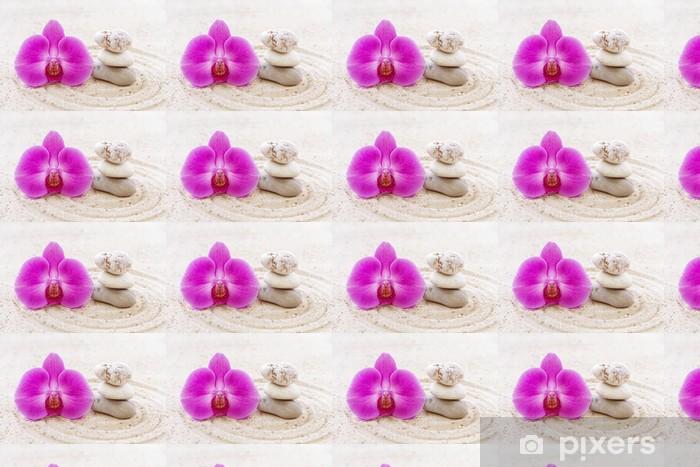 Papier peint vinyle sur mesure Orchidée zen avec des pierres dans le sable - Thèmes