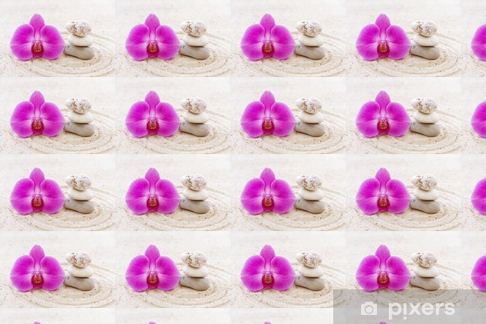 Orchid with zen stones in the sand Vinyl custom-made wallpaper - Themes