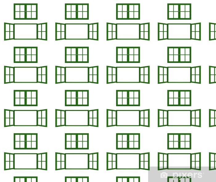 Vinyl behang, op maat gemaakt Donkergroene raamkozijn -