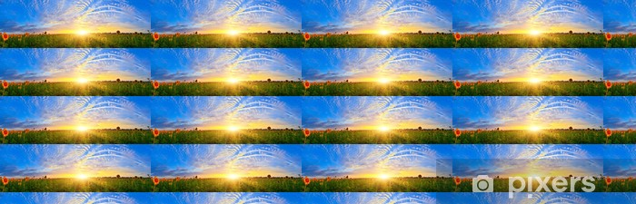 Vinyl behang, op maat gemaakt Zonnebloem veld - Platteland
