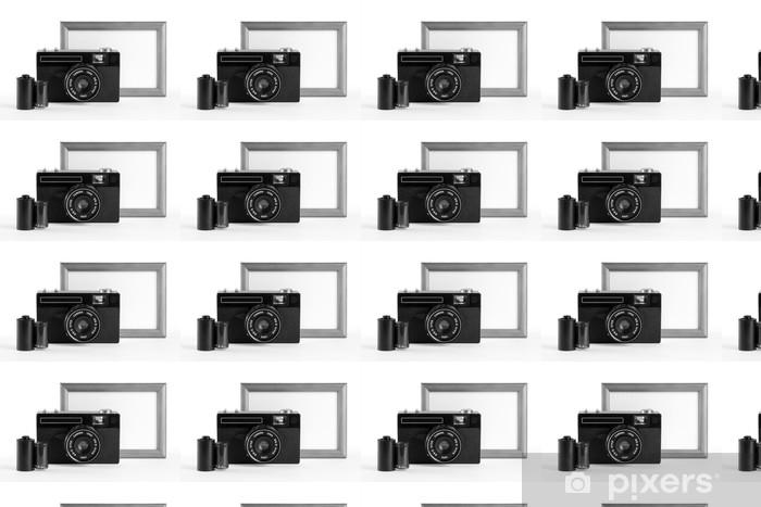 Old-fashioned film camera, film cassette and blank photoframe Vinyl custom-made wallpaper - Fashion