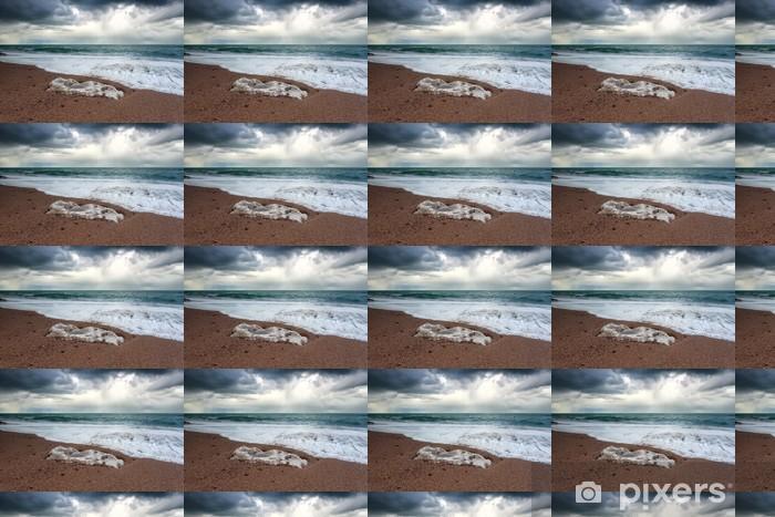 Papier peint vinyle sur mesure Orageux côte de l'océan - Eau