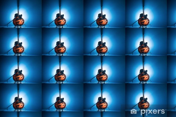 Vinyltapete nach Maß E-Gitarre auf einem blauen Hintergrund - Themen