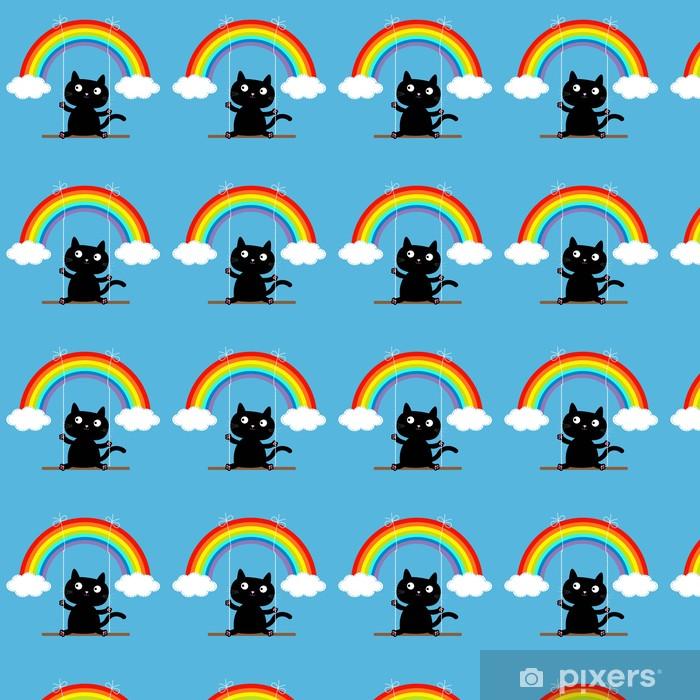 Vinyltapete nach Maß Regenbogen zwei Wolken am Himmel und Katze auf Swing. Strich-Linie. Liebe - Säugetiere