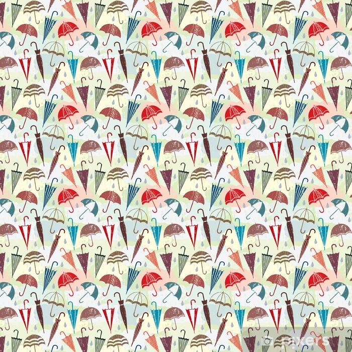 Grunge vector seamless pattern with clouds and umbrellas Self-adhesive custom-made wallpaper - Fashion