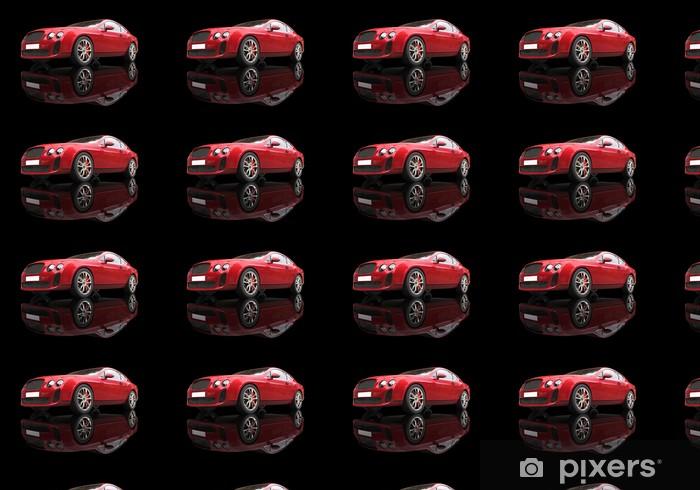 Vinyl behang, op maat gemaakt Rode elegante auto op zwarte reflecterende achtergrond, lage hoek geschoten. - Onderweg