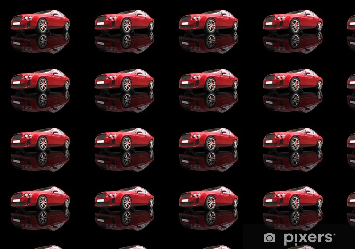 Red elegant car on black reflective background, low angle shot. Vinyl custom-made wallpaper - On the Road
