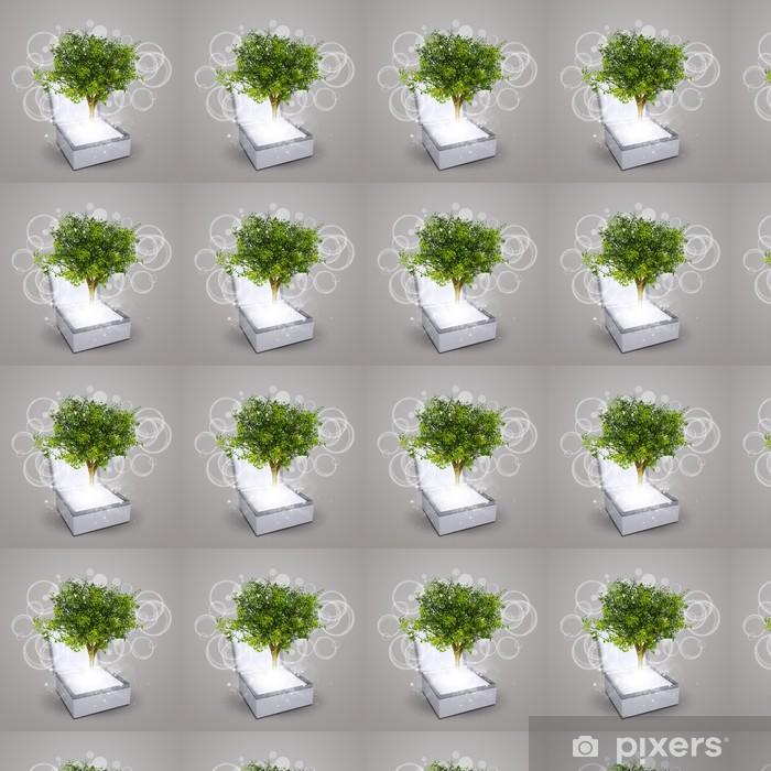 Vinyltapete nach Maß Schmuckschatulle mit magischen grünen Baum - Elektrizität