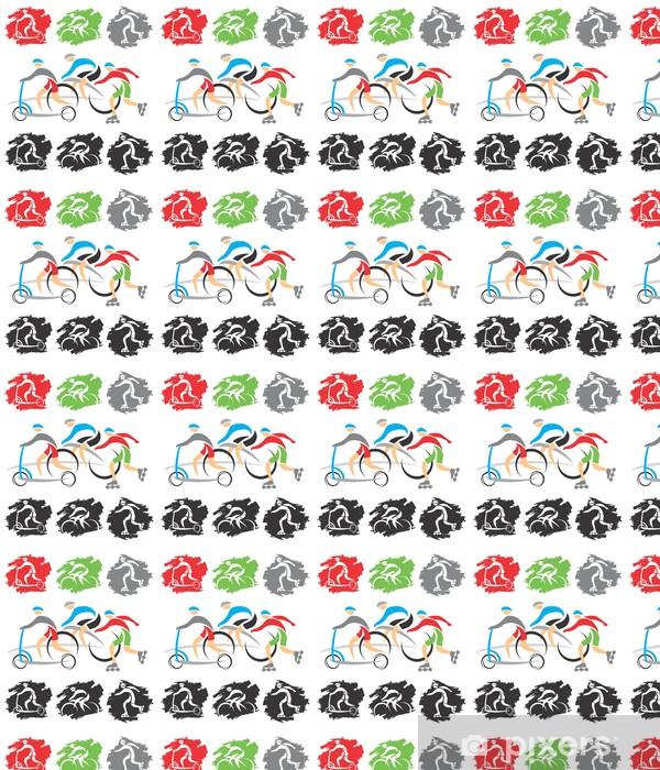 Papier peint vinyle sur mesure Sur le chemin des icônes de vélo - Sports individuels