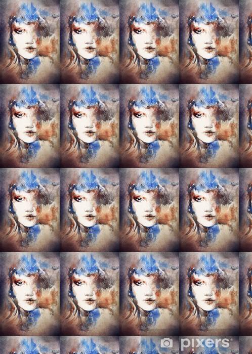 woman portrait .abstract watercolor .fashion background Vinyl custom-made wallpaper - Women