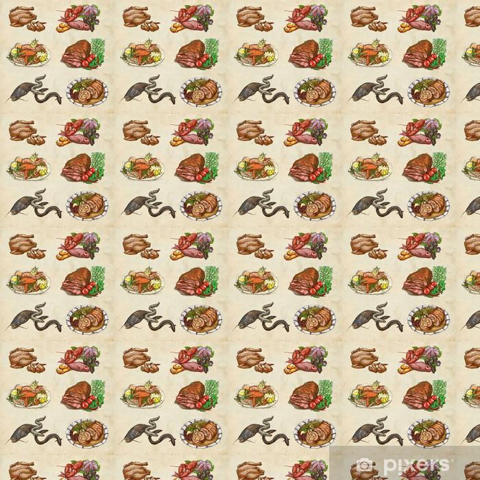 Vinylová tapeta na míru Potraviny ve světě, což ručně kreslenými barevné ilustrace - Jídla