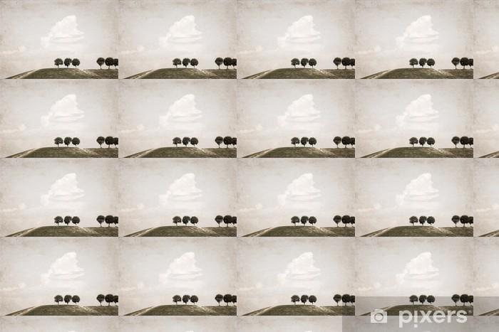 Papier peint vinyle sur mesure Création dans le style rétro, paysage - Arbres