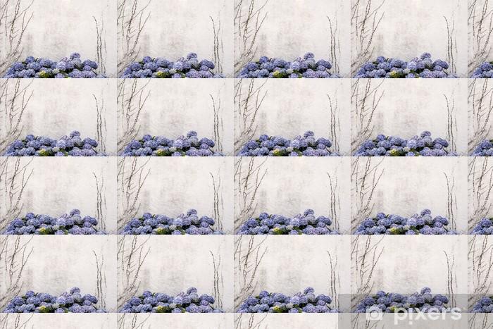 Vinyltapete nach Maß Schönen blauen Hortensien oder Hydrangea macrophylla mit einem weißen w - Jahreszeiten
