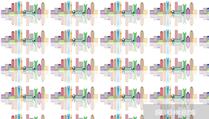Vinylová tapeta na míru Shanghai City Skyline Color Outline vektorové ilustrace - Asijská města