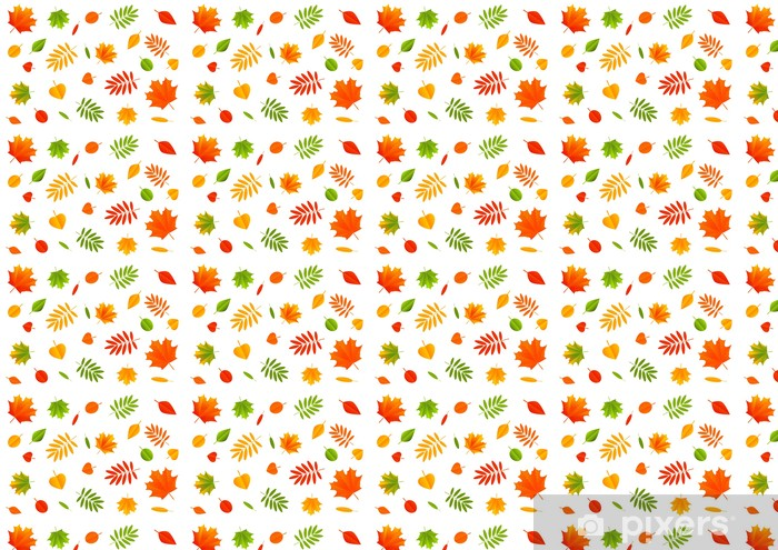 Vinyltapete nach Maß Herbst Farbe Blätter auf weißem Hintergrund - Jahreszeiten