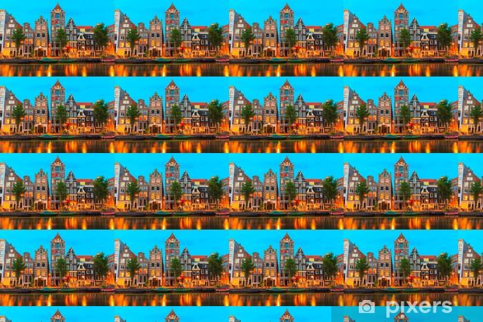 Papier peint vinyle sur mesure Vue nocturne de la ville d'Amsterdam canal Herengracht - Villes européennes