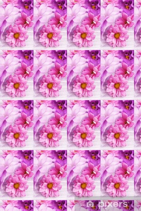 Papier peint vinyle sur mesure Beau chrysanthème et fleurs artificielles eustoma - Fleurs