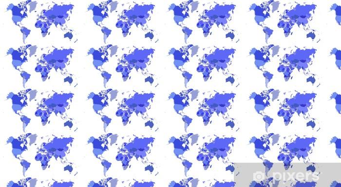 Tapeta na wymiar winylowa Niebieski mapa świata - kraje - Koncepcje biznesowe
