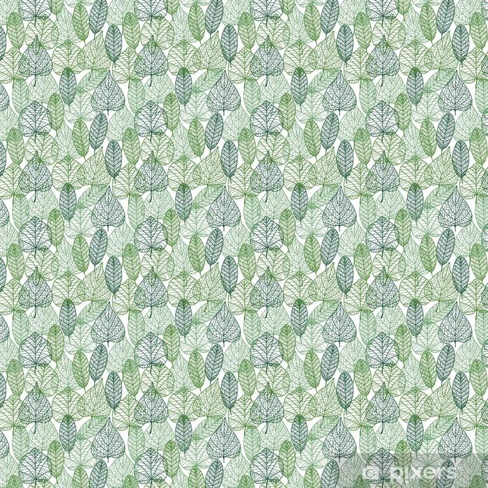 Papier peint vinyle sur mesure Green leaves seamless. - Styles