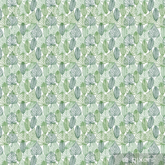 Vihreät lehdet saumaton malli Räätälöity vinyylitapetti - Styles