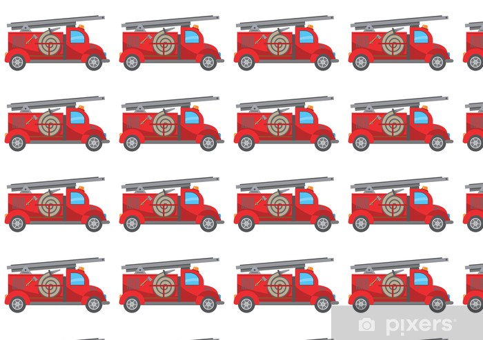 Fire Truck Cartoon Wallpaper Vinyl Custom Made