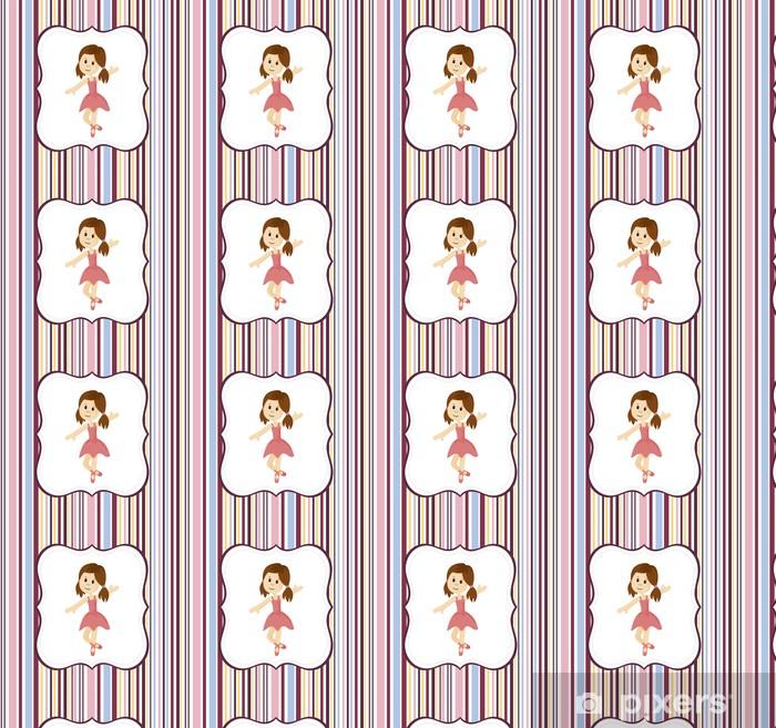 Vinyltapete nach Maß Nette Ballerina Mädchen mit Etikettenrahmen auf einem gestreiften Hintergrund - Hintergründe