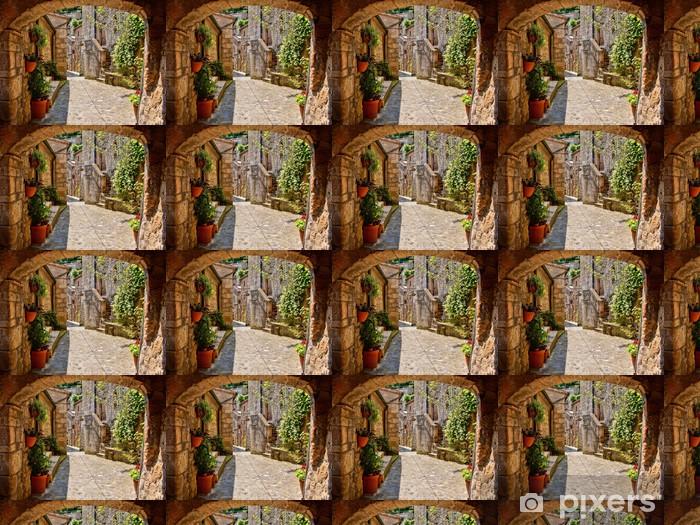 Tapeta na wymiar winylowa Łukowata brukowanej ulicy w toskańskiej wiosce, włochy - Tematy