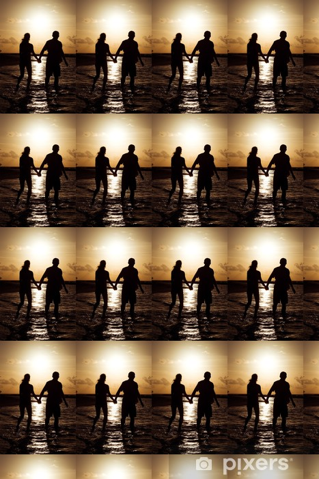 Silhouette of a young couple at sunset near the shore of the oce Vinyl custom-made wallpaper - Holidays