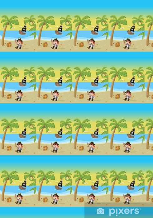 Vinylová tapeta na míru Cartoon pirát chlapec na krásné tropické pláži - Osud